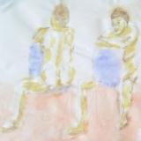 Akt auf blauem Stuhl